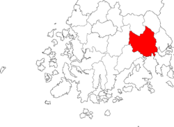 Kart over SuncheonHangul: 순천시 Hanja: 順天市 RR: Suncheon-si MR: Sunch'ŏn-si