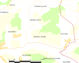 Mapa obce Verneuil-Grand