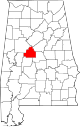 Map of Alabama highlighting Bibb County.svg