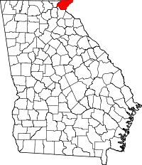 Map of Georgia highlighting Rabun County