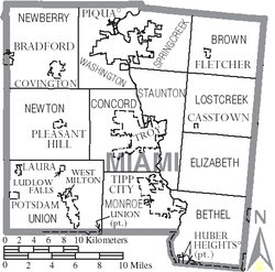 Miami County map with municipal and township labels.