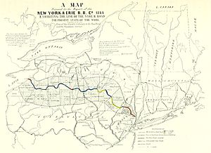 William Maxwell (railroad executive) - Image: Map of New York & Erie Rail Road, 1844