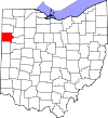 State map highlighting Van Wert County