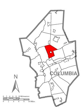 Orange Township, Columbia County, Pennsylvania - Image: Map of Orange Township, Columbia County, Pennsylvania Highlighted