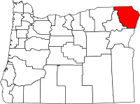 Map of Oregon highlighting Wallowa County