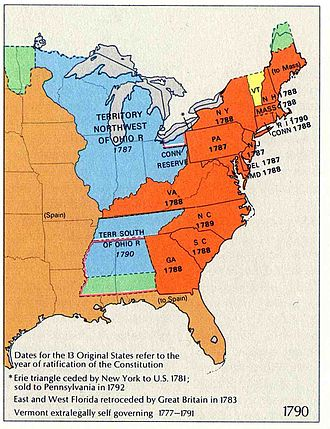 History of the United States Constitution - Territorial extent of the United States, 1790.