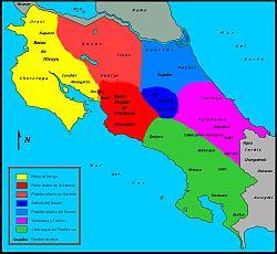 Mapa de las sociedades autóctonas costarricenses del siglo XVI a la