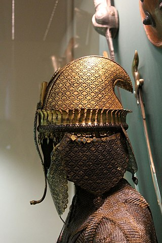 An early 18th century Maratha helmet and armour from the Hermitage Museum, St. Petersburg, Russia.