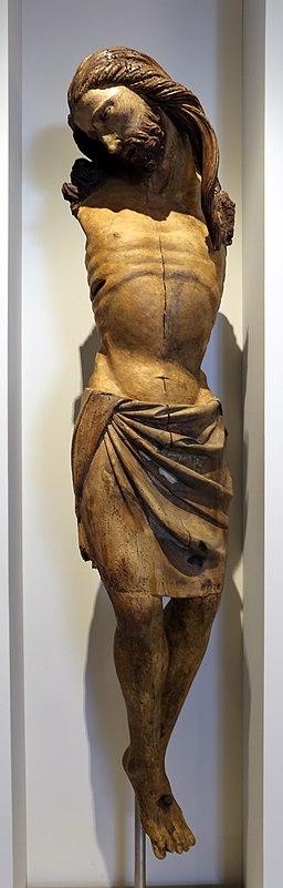 Marco romano, crocifisso in legno di noce, 1300-10 ca