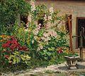 Marie Egner Vorgarten mit blühenden Stockrosen.jpg