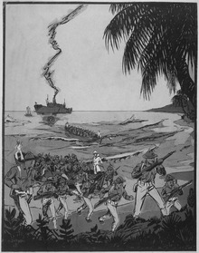 Marines landing under fire at Santo Domingo. Copy of illustration by Dickson., ca. 1916 - NARA - 532356.tif