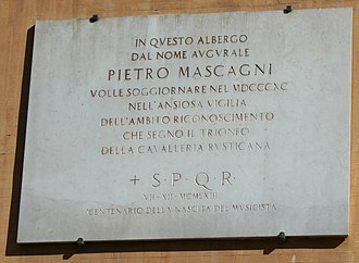 Pietro Mascagni - Plaque dedicated to Mascagni in Rome