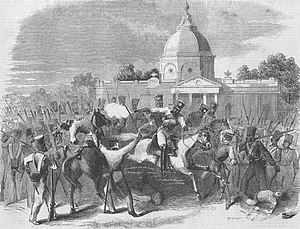 "3rd Bengal Light Cavalry -  ""Indian Mutiny: Massacre of officers by insurgent cavalry at Delhi,"" from the Illustrated London News, 1857"
