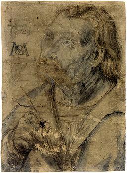 Matthias Gruenewald-Zeichnungen-Brustbild eines aufwaerts blickenden Mannes mit Federkiel
