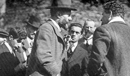 Max Weber (middle, facing right) in 1917 with Ernst Toller (middle, facing camera) Max Weber 1917.jpg