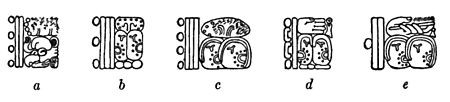 Fig. 61. Signs for the great cycle (a-c), and the great-great cycle (d, e): a, Stela N, Copan; b, d, Temple of the Inscriptions, Palenque; c, e, Stela 10, Tikal.