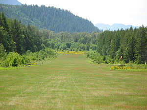 McKenzie Bridge State Airport - Image: Mc Kenzie Bridge State Airport runway 24 end
