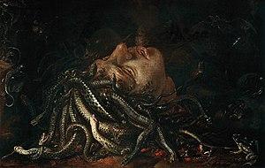 Medusa (Leonardo da Vinci painting) - Medusa's Head, a Flemish painter, ca. 1600, Uffizi Gallery.