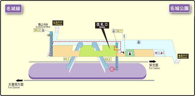 Meijo Koen station map Nagoya subway's Meijo line 2014.png