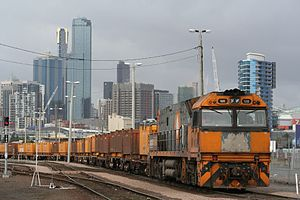 Freight railways in Melbourne - NR class locomotive at the Melbourne Steel Terminal