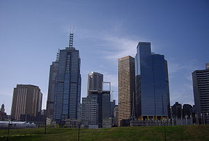 Birrarung Marr, Melbourne - View of Melbourne from Birrarung Marr.