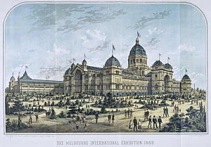 Melbourne - Lithograph of the Royal Exhibition Building, built to host the Melbourne International Exhibition of 1880