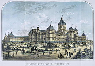 Royal Exhibition Building - Lithograph of the building hosting the World's Fair of 1880 showing the rear wings which no longer exist.