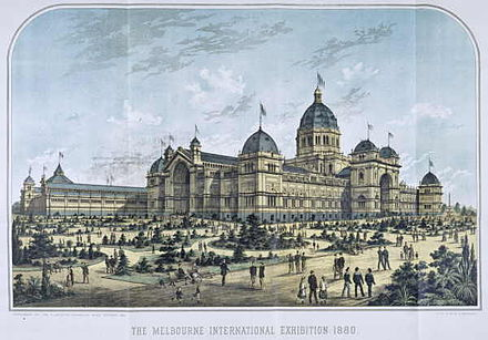 Lithograph of the World Heritage-listed Royal Exhibition Building, built to host the Melbourne International Exhibition of 1880 Melbourne international exhibition 1880.jpg