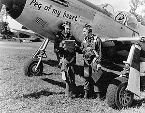 "RAF Membury - North American P-51A-10 Mustang (F-6) Serial 43-6173 ""Peg of My Heart"" of the 67th Recon Group."