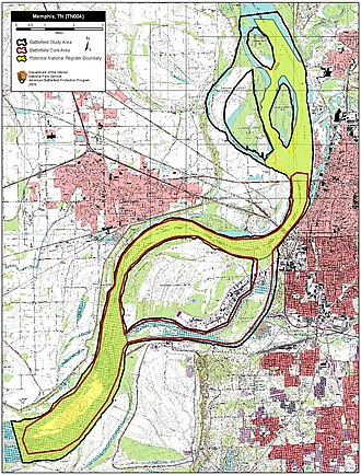 First Battle of Memphis - Map of Memphis I Battlefield core and study areas by the American Battlefield Protection Program.