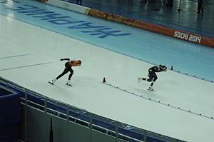 Italy at the 2014 Winter Olympics - Mirko Giacomo Nenzi (right) riding the 1500 m