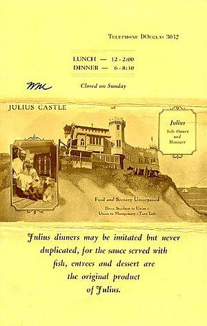 Julius' Castle - Image: Menu, Julius' Castle, San Francisco (12001224385)