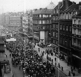 Belgian general strike of 1960–61 - Walloon strikers demonstrate in Brussels in the winter of 1960
