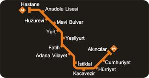 Metro map Adana