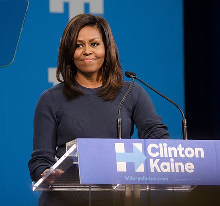 Obama speaks at a Hillary Clinton presidential campaign rally at Southern New Hampshire University, October 13, 2016. Michelle Obama at SNHU October 2016.jpg