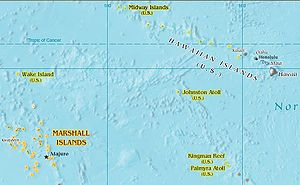 Johnston Atoll - Johnston Atoll is located between the Marshall Islands and the Hawaiian Islands