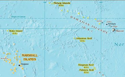 Johnston Atoll is located between the Marshall Islands and the Hawaiian Islands Midway.jpg