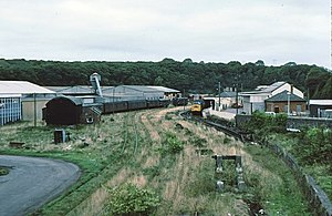 Milford Haven railway station - Milford Haven station and yard, 1979, looking north towards Hubberston Pill