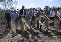 Military and civil officials toss the first shovels of dirt during a groundbreaking ceremony for a new Army Reserve center, near Panama City in Bay County, Fla., March 16, 2013 130316-A-IL912-054.jpg