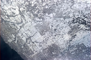 Milton, Ontario - Milton, seen from the International Space Station, in late winter. This photograph was taken by astronaut Chris Hadfield, who grew up in Milton and is the namesake of Chris Hadfield Public School.