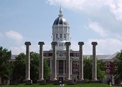 Jesse Hall and the columns on Francis Quadrangle at the University of Missouri