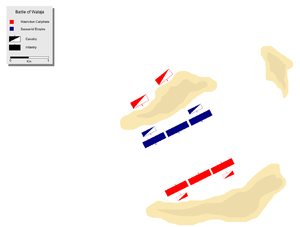 Battle of Walaja - Deployment of Muslim (red) and Sassanid (blue) armies.