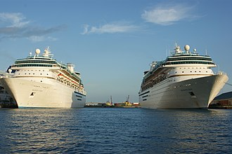 Sovereign-class cruise ship - Majesty of the Seas and Monarch of the Seas In Nassau, Bahamas.