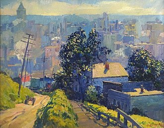 Wilbur G. Adam - Monastery Hill (1922). Oil on canvas. Exhibited at Adam's 1922 one-man exhibition at Closson's Gallery. Sold in auction in 2015.