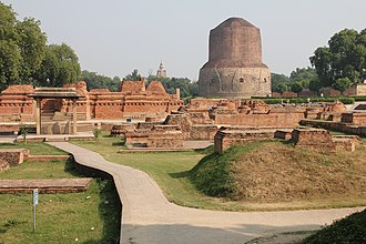 Buddhism - Dhamek Stupa in Sarnath, India, where the Buddha gave his first sermon. It was built by Ashoka.