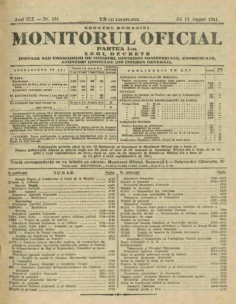 File:Monitorul Oficial al României. Partea 1 1941-08-14, nr. 191.pdf