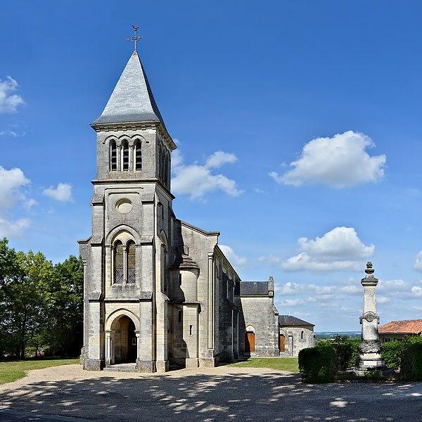 Church of Montchaude (end of the 19th century), as seen from SW. Montchaude, Charente, France.