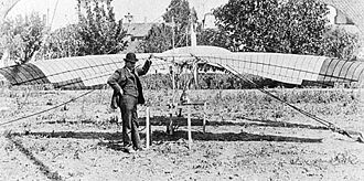 John Joseph Montgomery - John J. Montgomery and his tandem-wing glider The Santa Clara on April 29, 1905