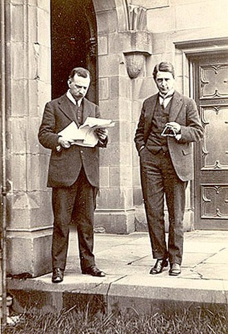 Harrison Moore - Moore (right) and Ernest Scott photographed in the Quadrangle of the Old Law building, University of Melbourne, circa 1914-1918.