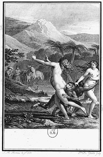 This engraving is from Voltaire's Candide: it ...